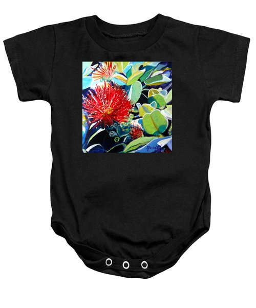 Red Ohia Lehua Flower Baby Onesie