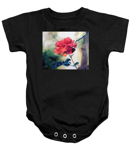 Watercolor Of A Single Red Rose On A Branch Baby Onesie