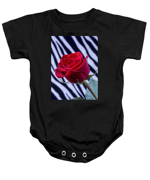 Red Rose With Stripes Baby Onesie