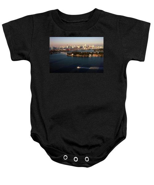 Retro Style Miami Skyline Sunrise And Biscayne Bay Baby Onesie