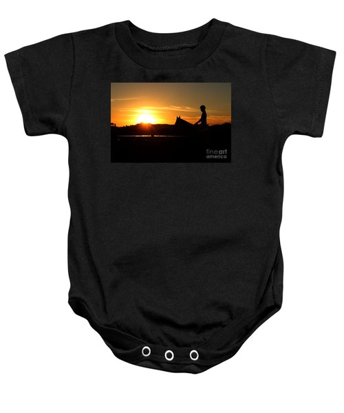 Riding At Sunset Baby Onesie