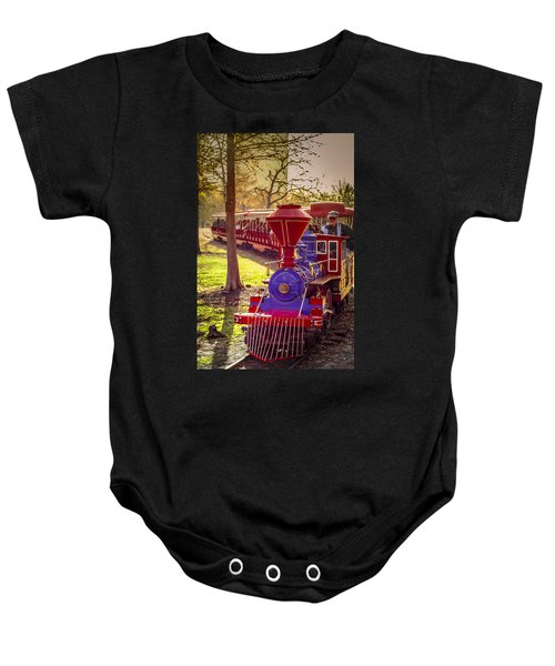 Riding Out Of The Sunset On The Hermann Park Train Baby Onesie