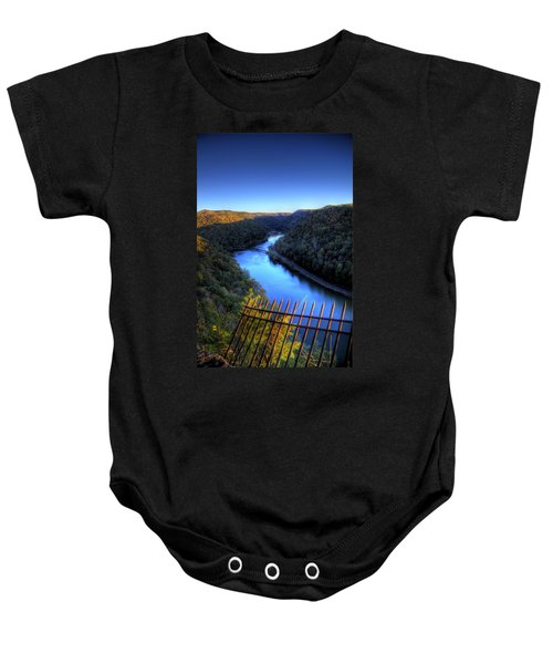 Baby Onesie featuring the photograph River Through A Valley by Jonny D
