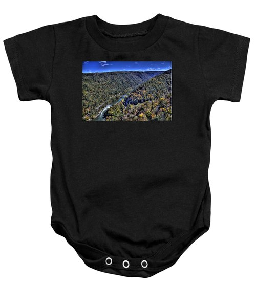 Baby Onesie featuring the photograph River Through The Hills by Jonny D