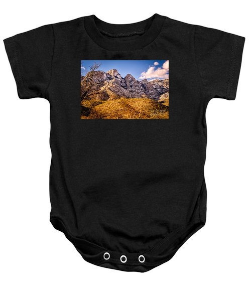 Baby Onesie featuring the photograph Rocky Peaks by Mark Myhaver