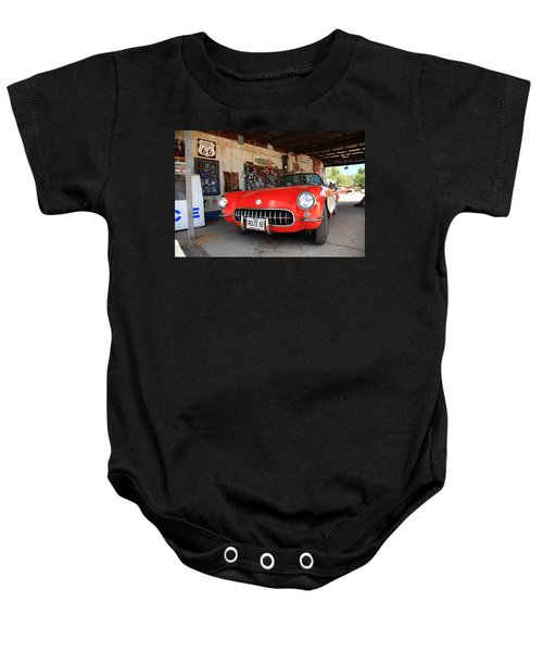 Baby Onesie featuring the photograph Route 66 Corvette by Frank Romeo