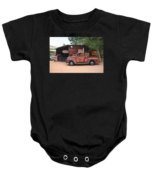 Baby Onesie featuring the photograph Route 66 Garage And Pickup by Frank Romeo