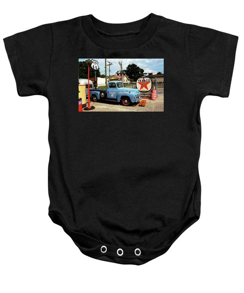 Baby Onesie featuring the photograph Route 66 - Gas Station With Watercolor Effect by Frank Romeo