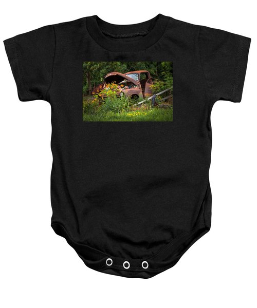 Rusty Truck Flower Bed - Charming Rustic Country Baby Onesie