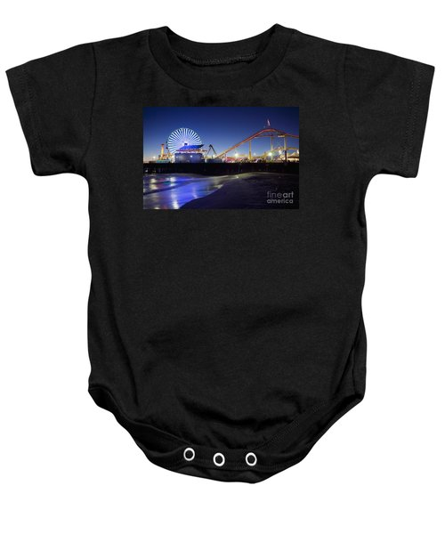 Santa Monica Pier At Night Baby Onesie