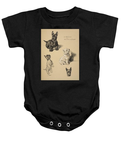 Scotch Terrier And White Westie Baby Onesie