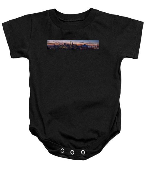 Seattle Cityscape Morning Light Baby Onesie by Mike Reid