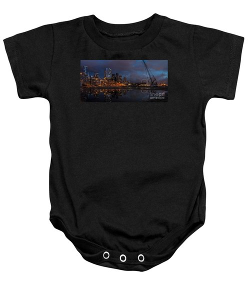 Seattle Night Skyline Baby Onesie by Mike Reid