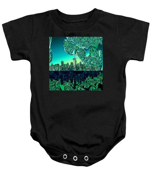 Seattle Skyline Abstract Baby Onesie