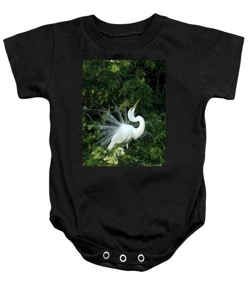 Showy Great White Egret Baby Onesie