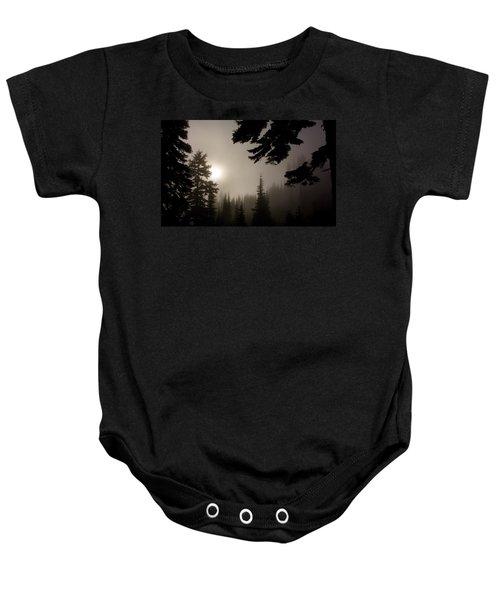 Silhouettes Of Trees On Mt Rainier Baby Onesie