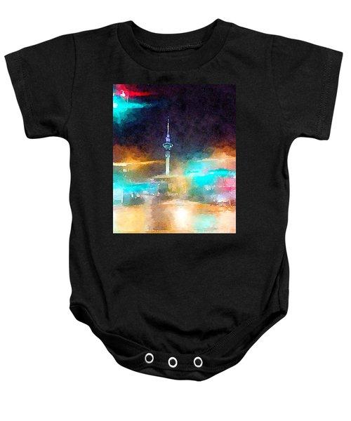 Sky Tower By Night Baby Onesie