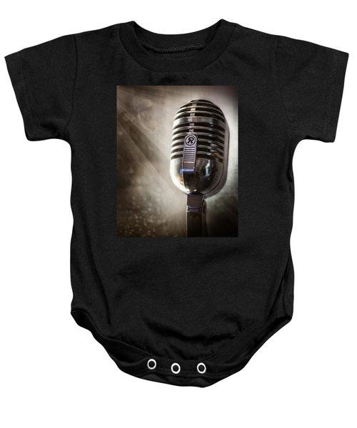 Smoky Vintage Microphone Baby Onesie