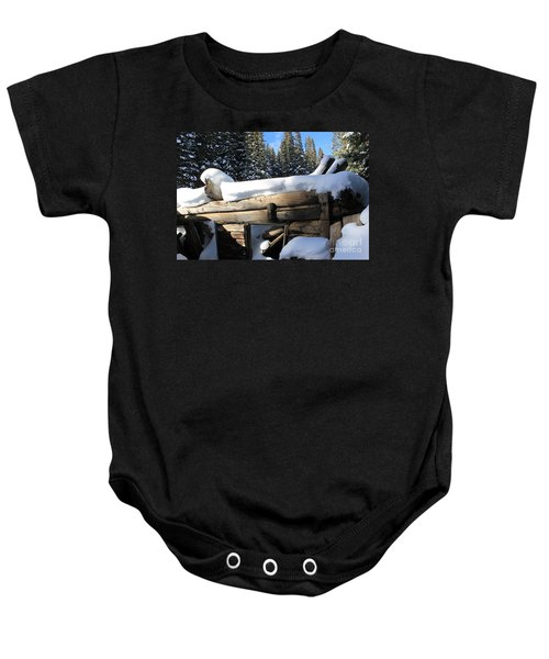 Snow Covered Cabin Baby Onesie