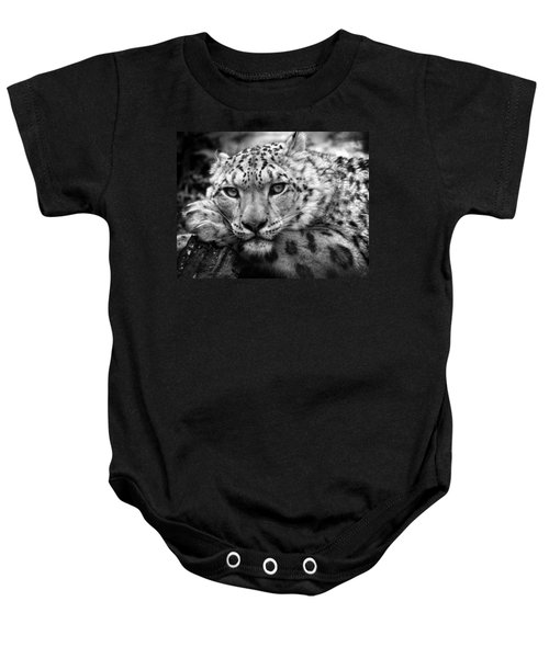 Snow Leopard In Black And White Baby Onesie