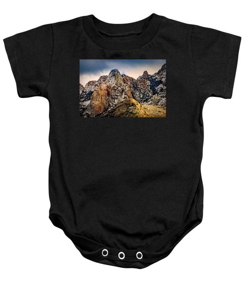 Baby Onesie featuring the photograph Snow On Peaks 45 by Mark Myhaver