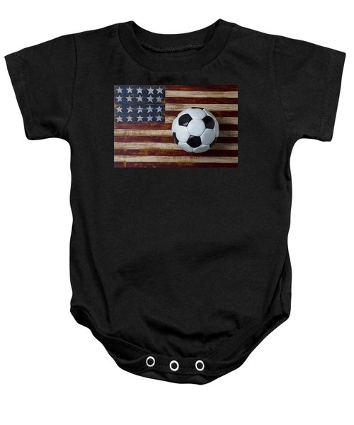 Soccer Ball And Stars And Stripes Baby Onesie