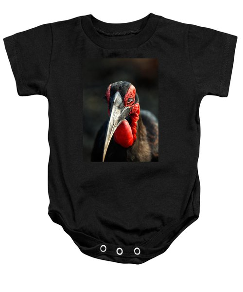 Southern Ground Hornbill Portrait Front View Baby Onesie by Johan Swanepoel