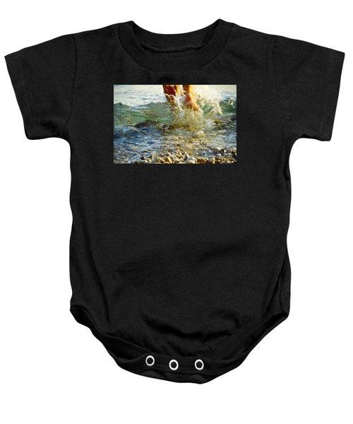 Baby Onesie featuring the photograph Splish Splash by Heiko Koehrer-Wagner
