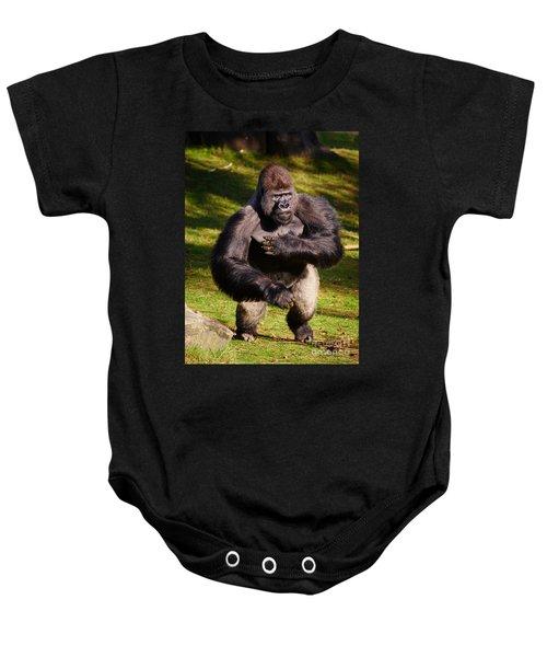 Standing Silverback Gorilla Baby Onesie