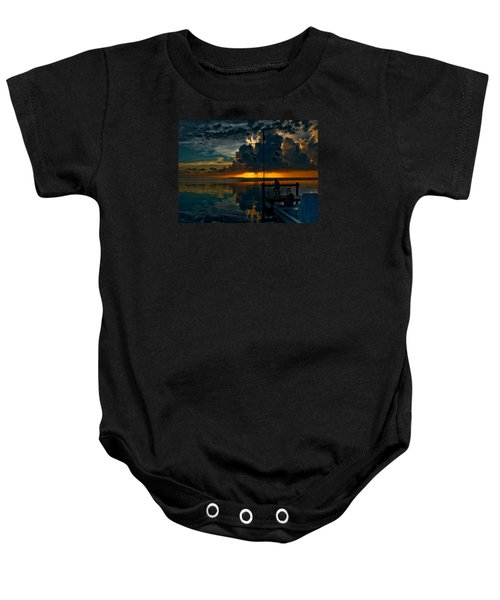 Sunset Tropical Storm And Watcher In Florida Keys Baby Onesie