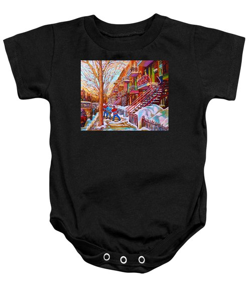 Street Hockey Game In Montreal Winter Scene With Winding Staircases Painting By Carole Spandau Baby Onesie