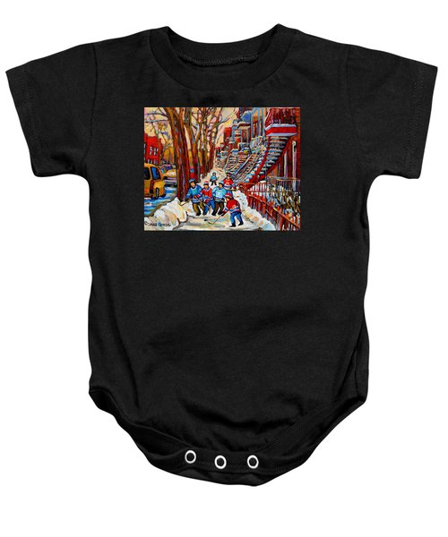 Streets Of Verdun Hockey Art Montreal Street Scene With Outdoor Winding Staircases Baby Onesie