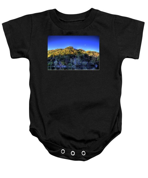 Baby Onesie featuring the photograph Sun On Autumn Trees by Jonny D