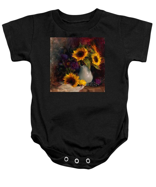 Sunflowers And Porcelain Still Life Baby Onesie