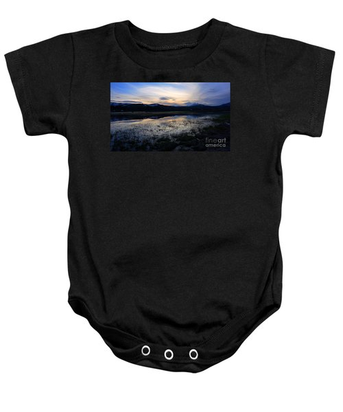 Sunset At A Lake Near Mammoth In Yellowstone Baby Onesie
