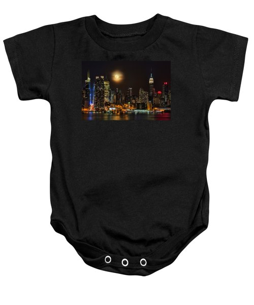 Super Moon Over Nyc Baby Onesie