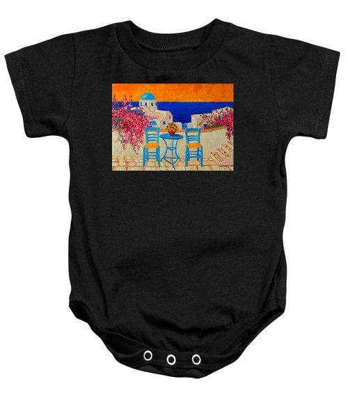Table For Two In Santorini Greece Baby Onesie
