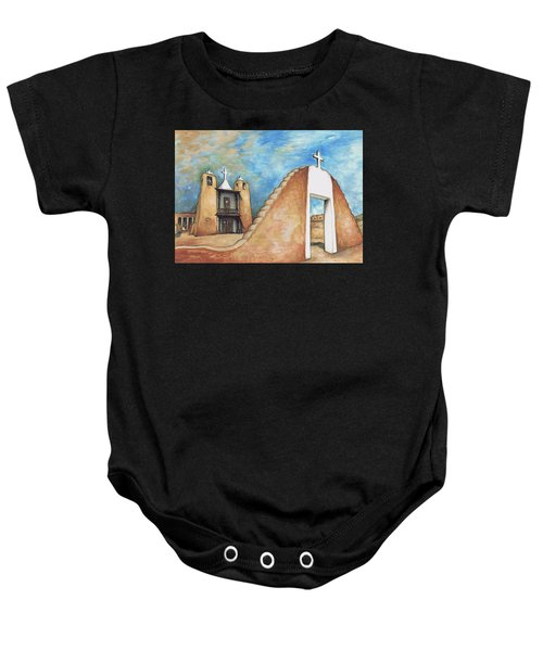 Taos Pueblo New Mexico - Watercolor Art Painting Baby Onesie