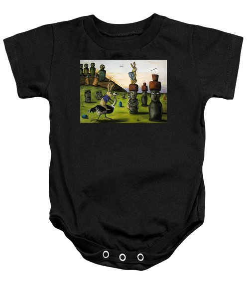 The Battle Over Easter Island Baby Onesie by Leah Saulnier The Painting Maniac