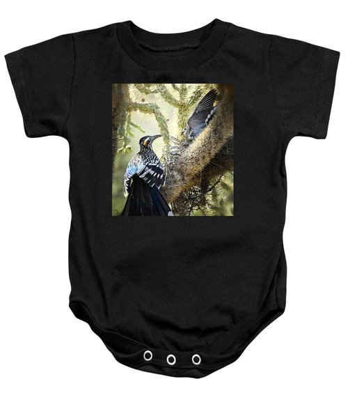 The Dove Vs. The Roadrunner Baby Onesie by Saija  Lehtonen