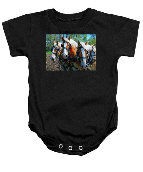 Three Horses Break Time  Baby Onesie