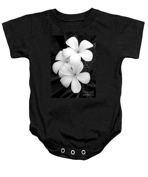 Three Plumeria Flowers In Black And White Baby Onesie