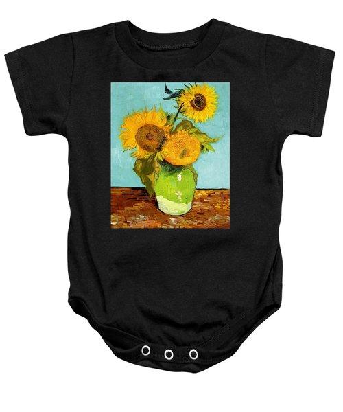 Three Sunflowers In A Vase Baby Onesie