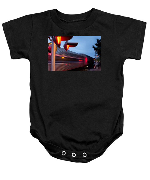 Train Crossing Road Baby Onesie