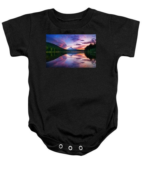 Trillium Lake Sunrise Baby Onesie