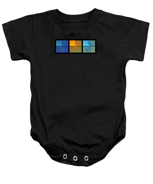 Triptych Blue Orange Cyan - Colorful Rust Baby Onesie