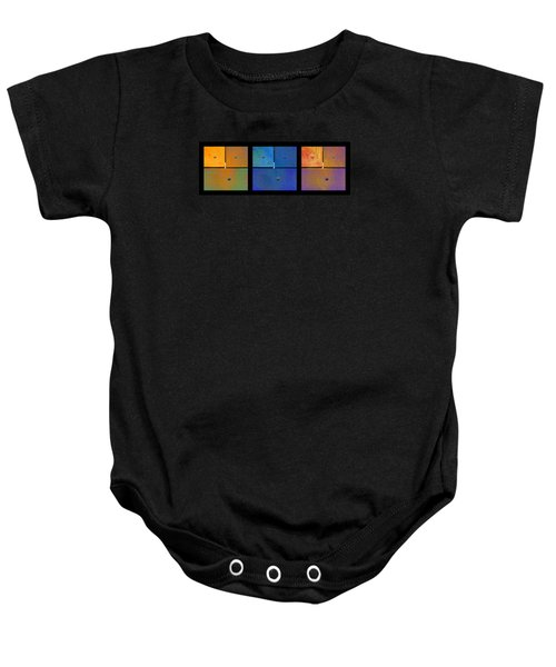 Triptych Orange Blue Gold - Colorful Rust Baby Onesie