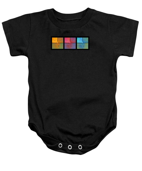 Triptych Orange Magenta Cyan - Colorful Rust Baby Onesie