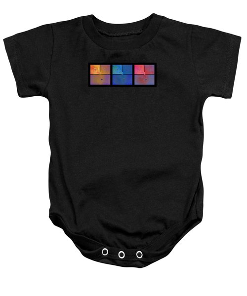 Triptych Gold Blue Magenta - Colorful Rust Baby Onesie