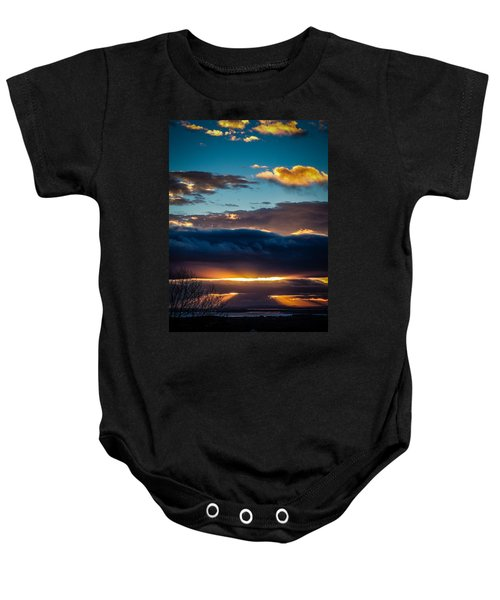 Baby Onesie featuring the photograph Tunnels Of Light Over Ireland's Shannon Airport by James Truett